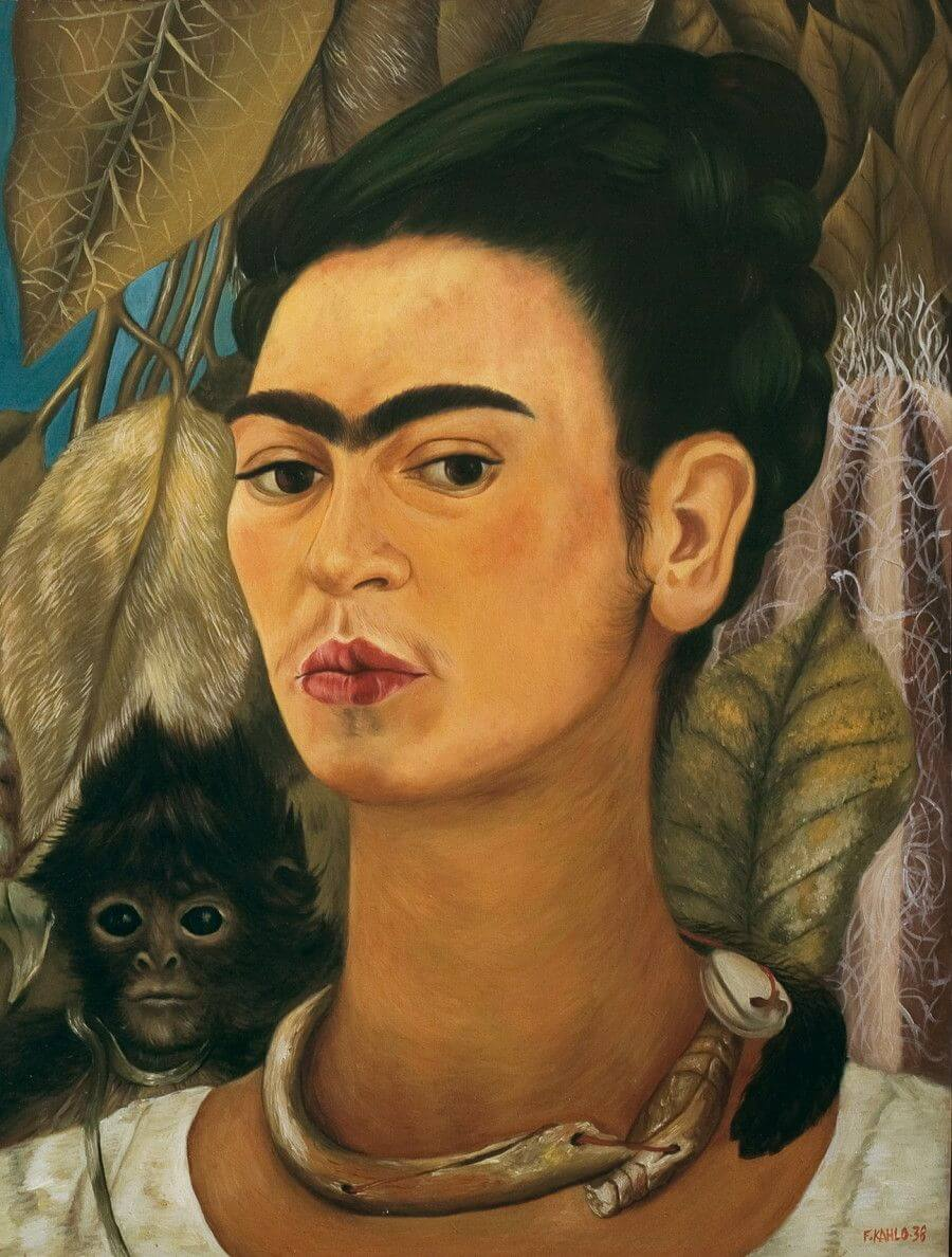 Self portrait with a monkey - by Frida Kahlo