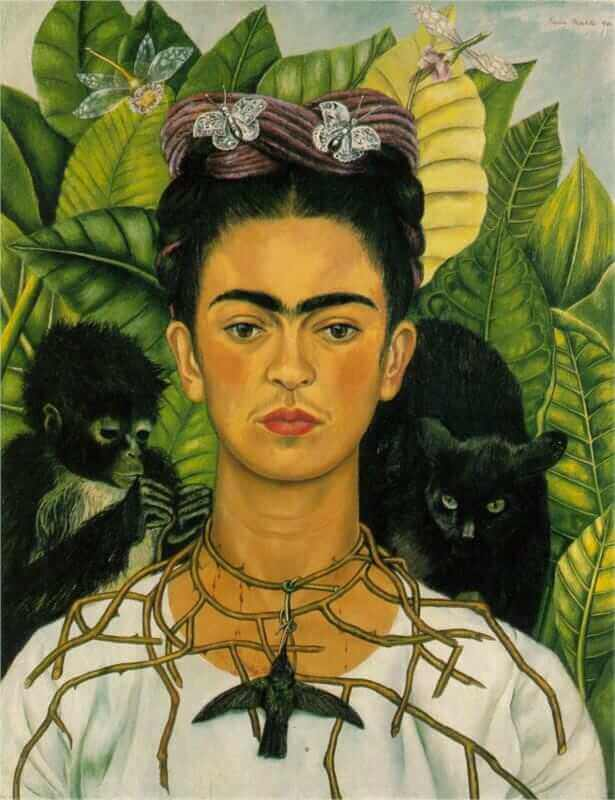 Self portrait with necklace of thorns - by Frida Kahlo