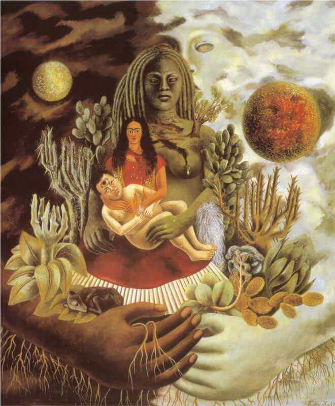 The Love Embrace of the Universe, the Earth(Mexico), Myself, Diego and Senor Xolotl, 1949 by Frida Kahlo