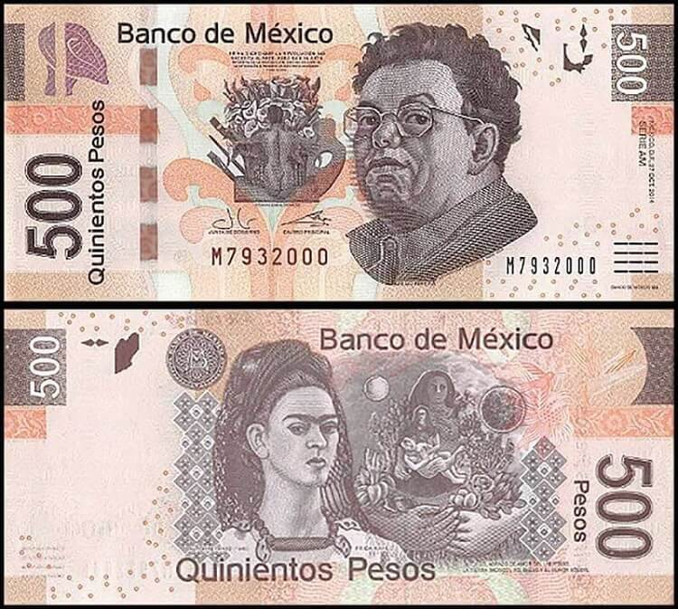 500 Peso with Frida Kalho and Diego Rivera