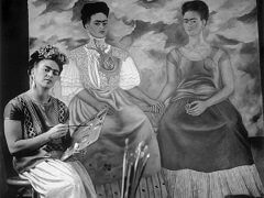 Frida with Painting 'The Two Fridas'
